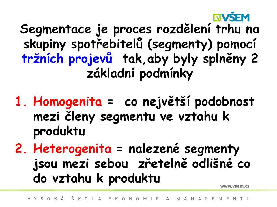 Segmentace je proces rozdělení trhu na skupiny spotřebitelů (segmenty) pomocí tržních projevů tak,aby byly splněny 2 základní podmínky