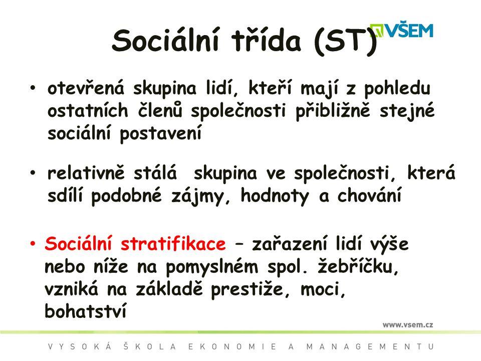 Sociální třída (ST) otevřená skupina lidí, kteří mají z pohledu ostatních členů společnosti přibližně stejné sociální postavení.