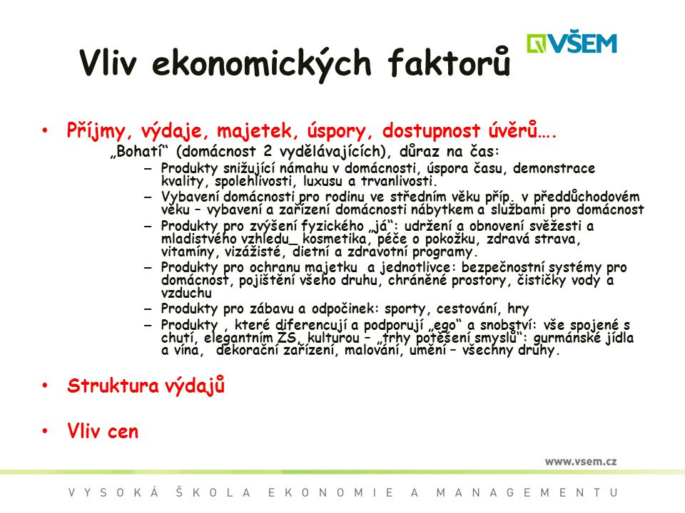 Vliv ekonomických faktorů