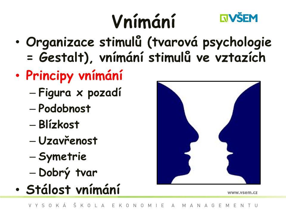 Vnímání Organizace stimulů (tvarová psychologie = Gestalt), vnímání stimulů ve vztazích. Principy vnímání.