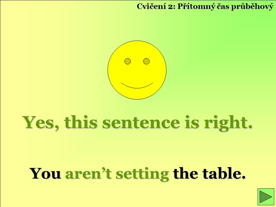 Yes, this sentence is right. You aren't setting the table.