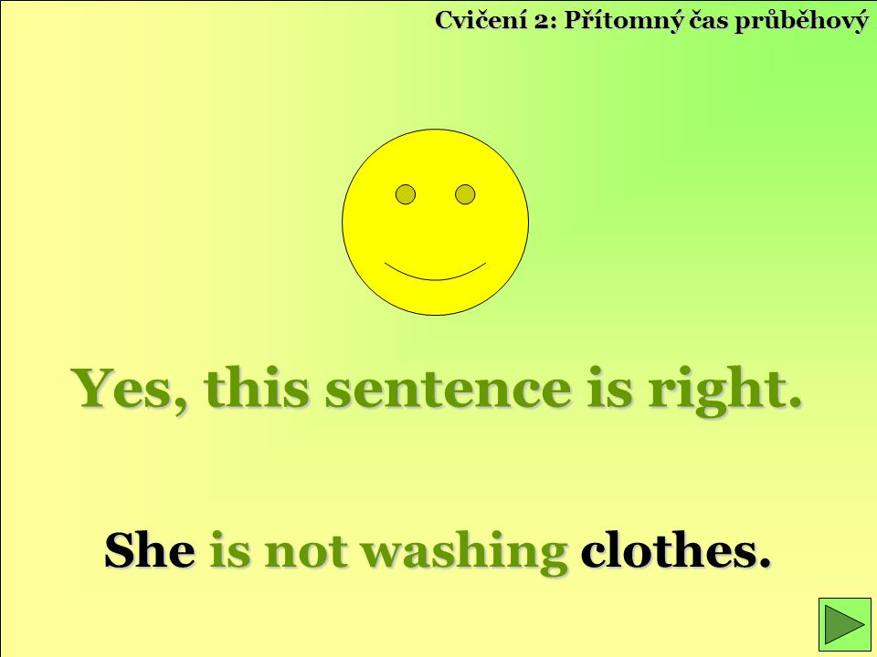 Yes, this sentence is right. She is not washing clothes.