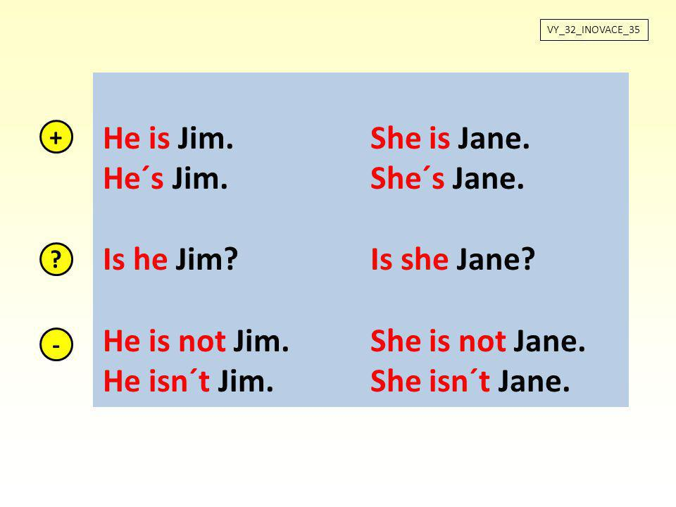He is not Jim. She is not Jane. He isn´t Jim. She isn´t Jane.