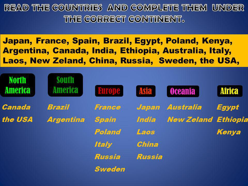 READ THE COUNTRIES AND COMPLETE THEM UNDER THE CORRECT CONTINENT.