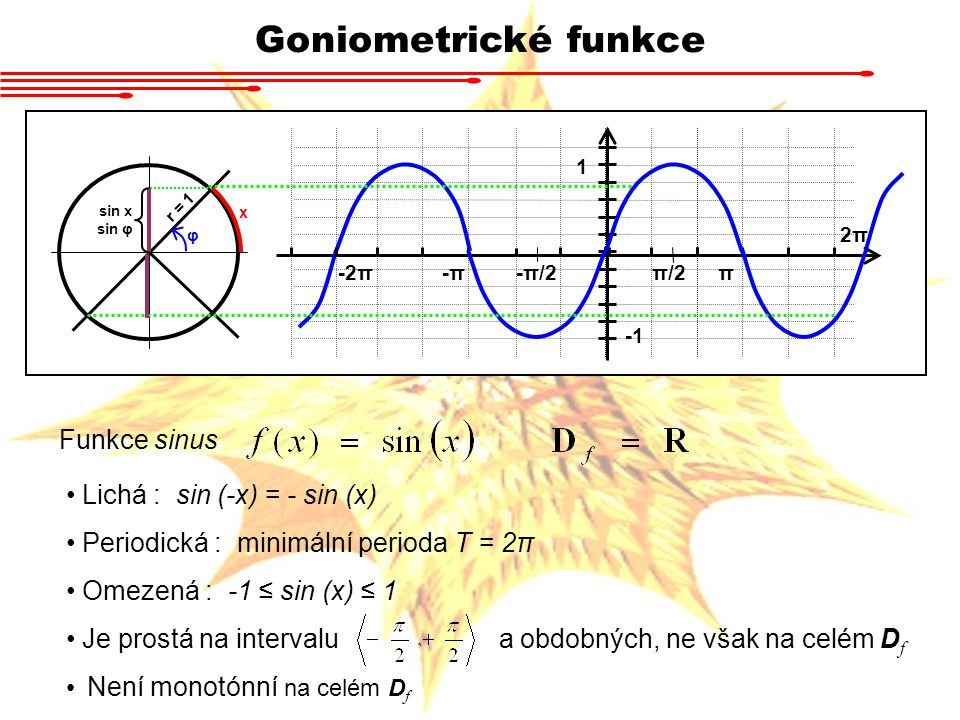 Goniometrické funkce Funkce sinus Lichá : sin (-x) = - sin (x)