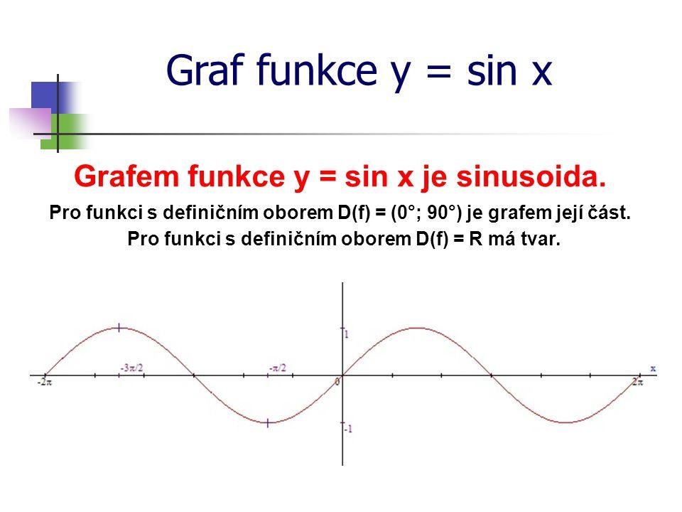 Graf funkce y = sin x Grafem funkce y = sin x je sinusoida.