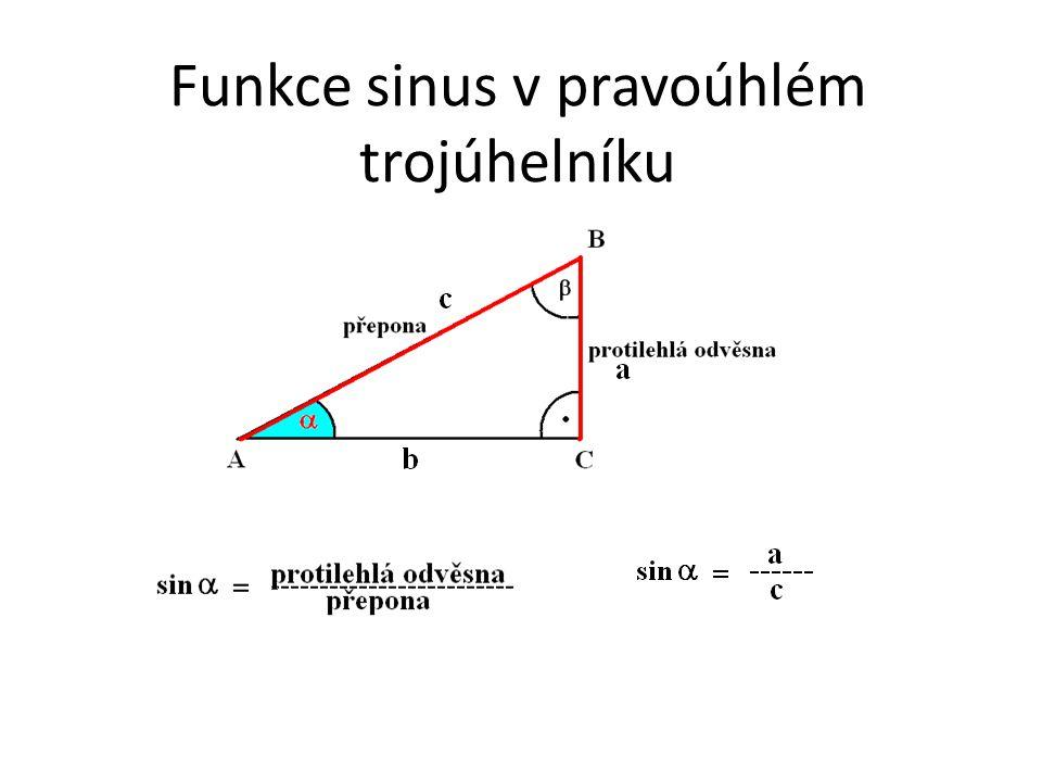 Funkce sinus v pravoúhlém trojúhelníku