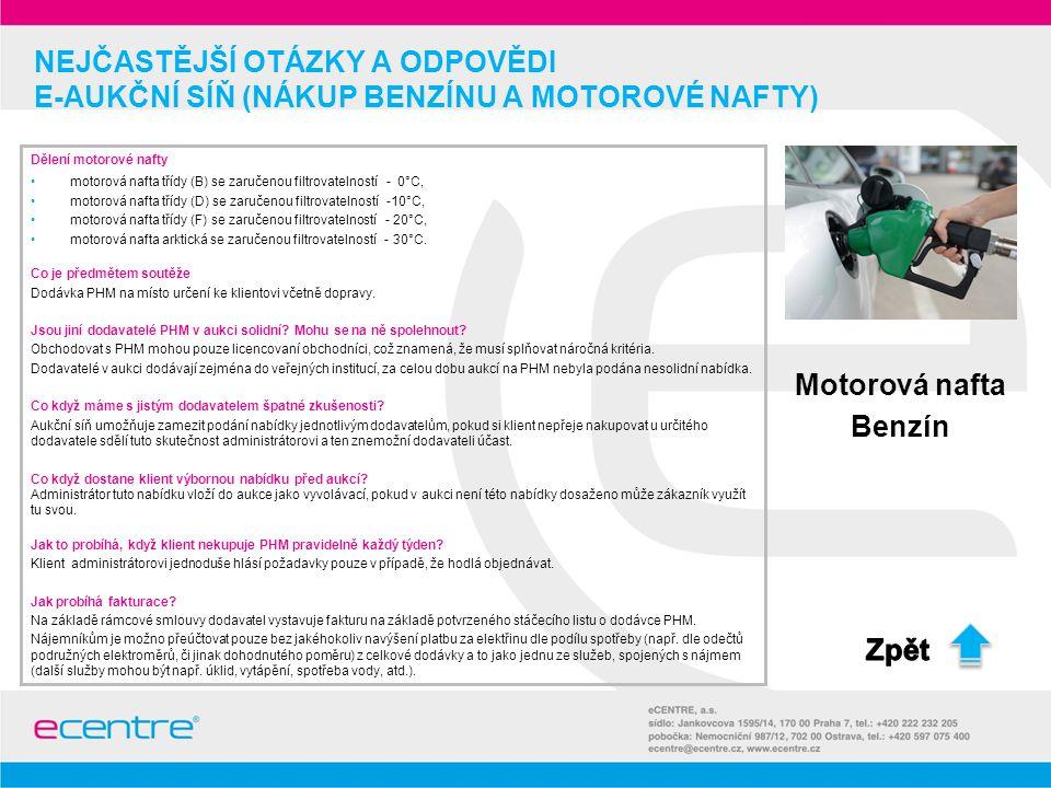 NEJČASTĚJŠÍ OTÁZKY A ODPOVĚDI e-Aukční síň (nákup benzínu a motorové nafty)
