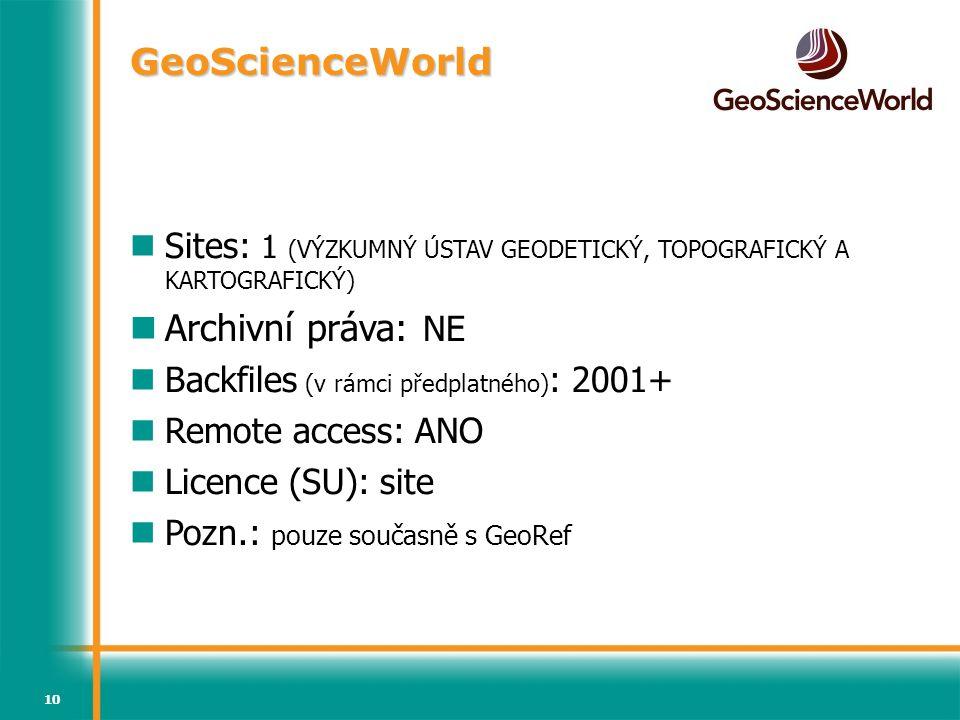 GeoScienceWorld Archivní práva: NE