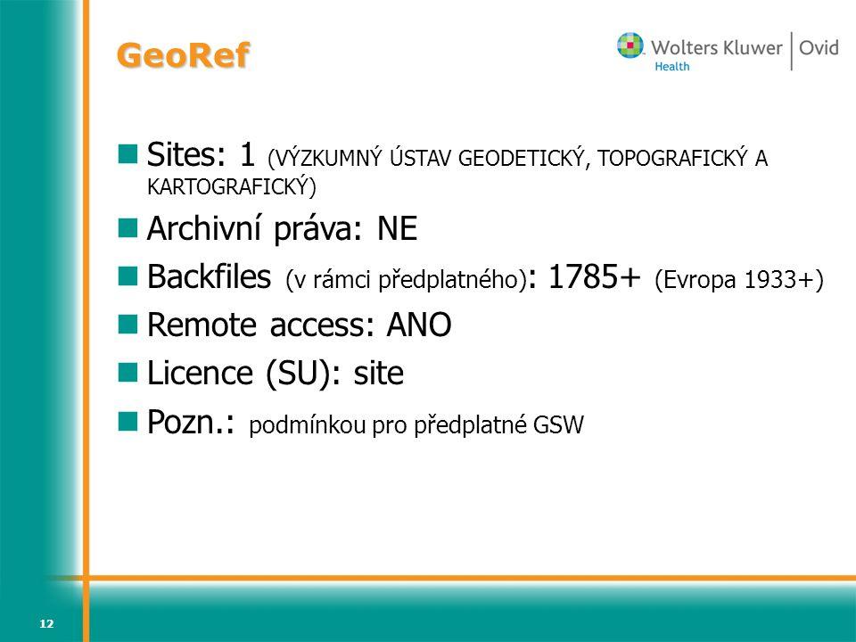 Sites: 1 (VÝZKUMNÝ ÚSTAV GEODETICKÝ, TOPOGRAFICKÝ A KARTOGRAFICKÝ)