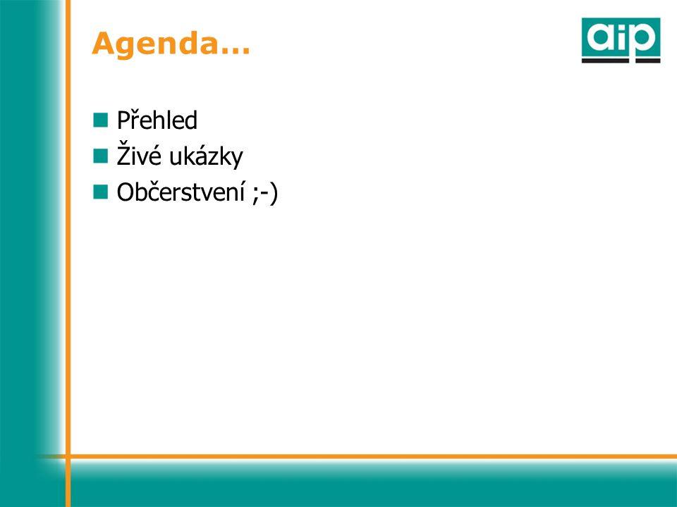 Agenda… Přehled Živé ukázky Občerstvení ;-)