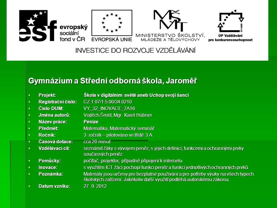 Gymnázium a Střední odborná škola, Jaroměř