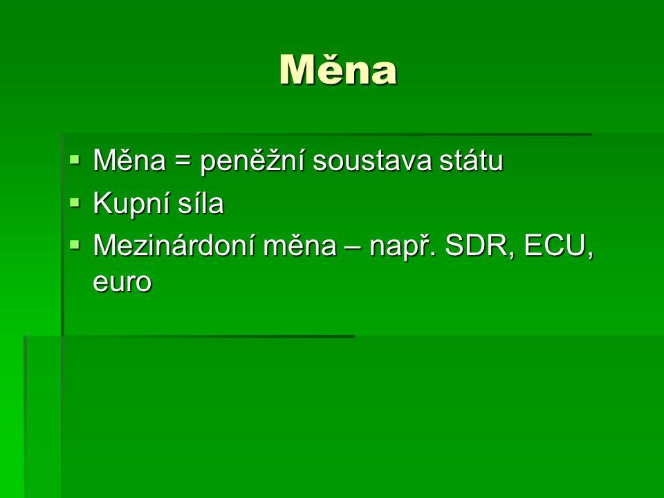 Měna Měna = peněžní soustava státu Kupní síla
