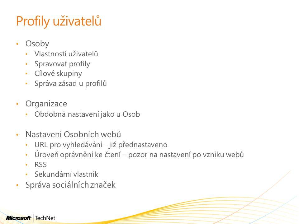Profily uživatelů Osoby Organizace Nastavení Osobních webů