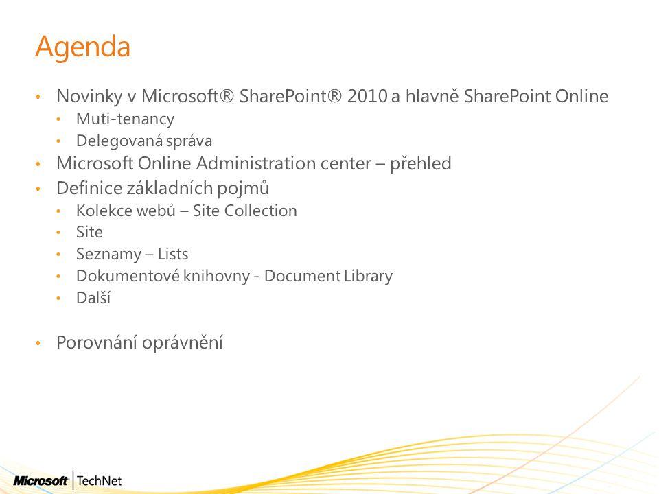 Agenda Novinky v Microsoft® SharePoint® 2010 a hlavně SharePoint Online. Muti-tenancy. Delegovaná správa.
