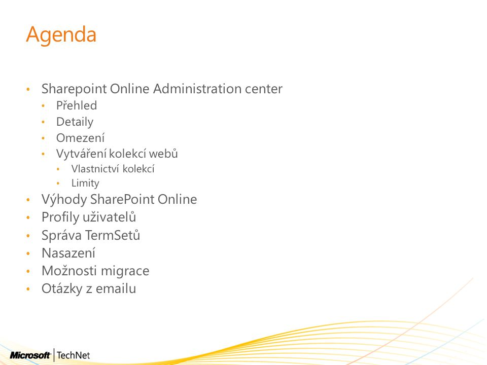 Agenda Sharepoint Online Administration center
