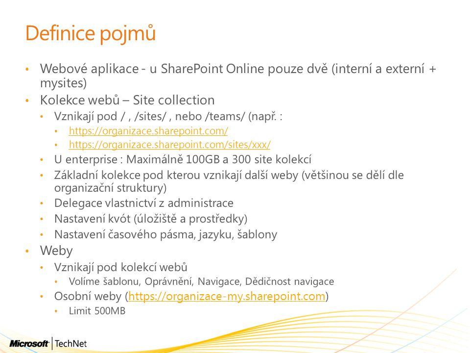 Definice pojmů Webové aplikace - u SharePoint Online pouze dvě (interní a externí + mysites) Kolekce webů – Site collection.