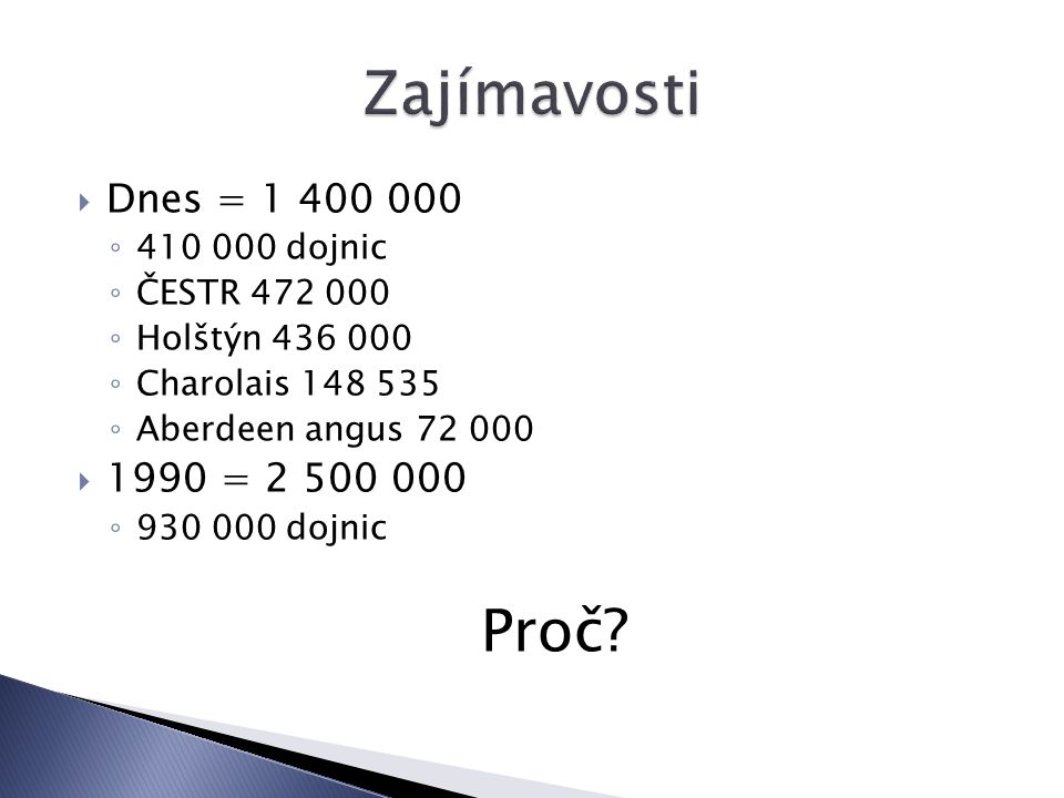 Zajímavosti Proč Dnes = 1 400 000 1990 = 2 500 000 410 000 dojnic