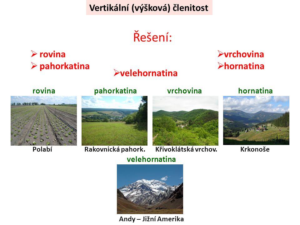 Řešení: Vertikální (výšková) členitost rovina pahorkatina vrchovina