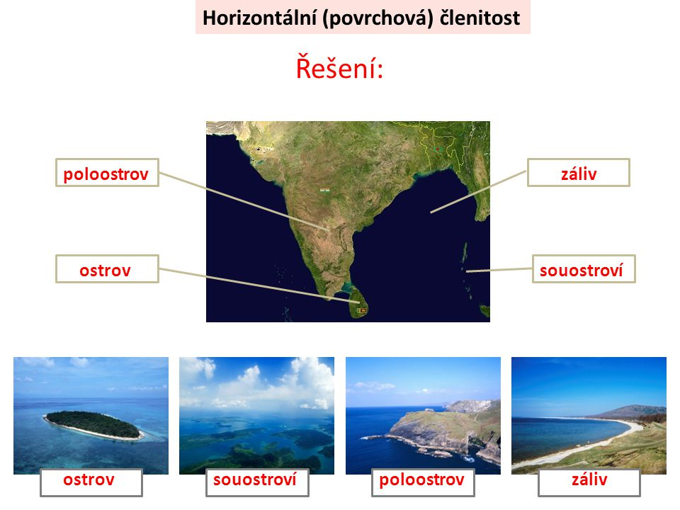 Řešení: Horizontální (povrchová) členitost poloostrov záliv ostrov