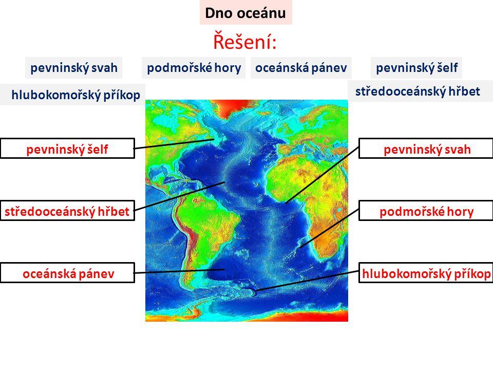 Řešení: Dno oceánu pevninský svah podmořské hory oceánská pánev