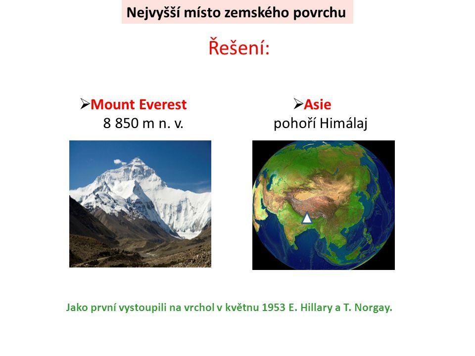 Řešení: Nejvyšší místo zemského povrchu Mount Everest Asie