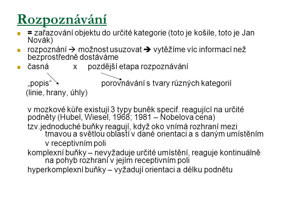 Rozpoznávání = zařazování objektu do určité kategorie (toto je košile, toto je Jan Novák)