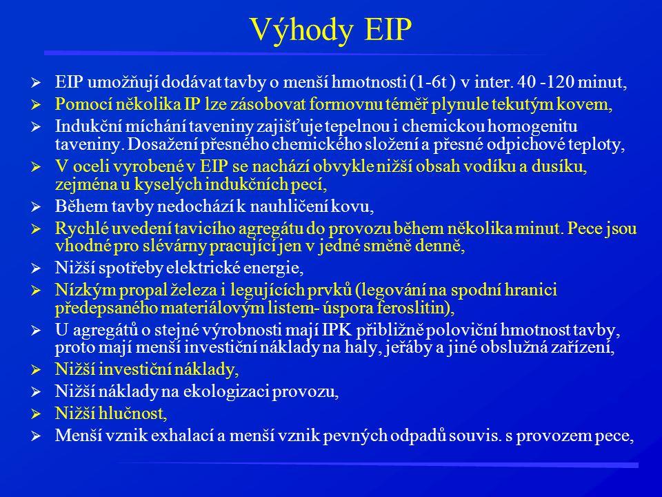 Výhody EIP EIP umožňují dodávat tavby o menší hmotnosti (1-6t ) v inter. 40 -120 minut,