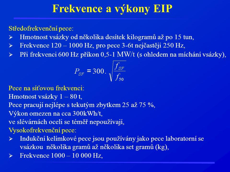 Frekvence a výkony EIP Středofrekvenční pece: