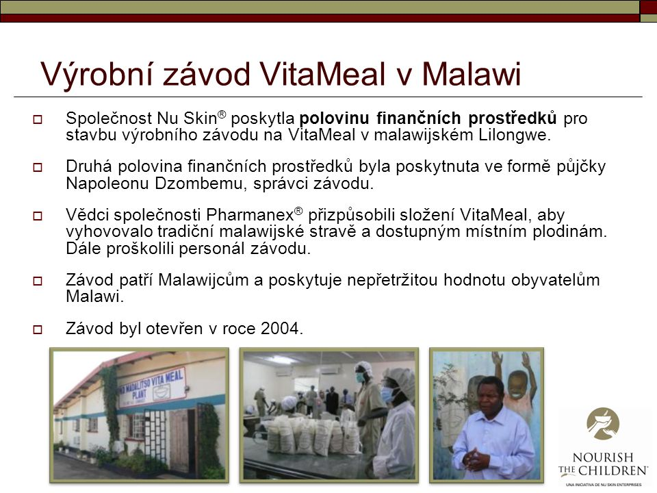 Výrobní závod VitaMeal v Malawi
