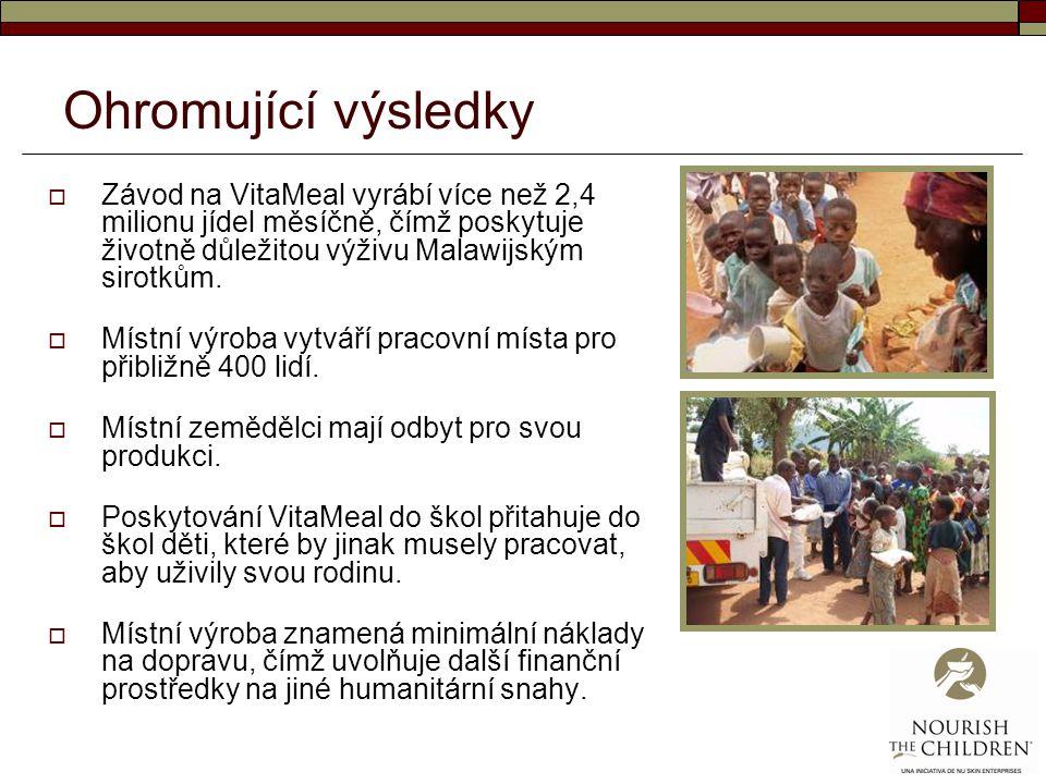 Ohromující výsledky Závod na VitaMeal vyrábí více než 2,4 milionu jídel měsíčně, čímž poskytuje životně důležitou výživu Malawijským sirotkům.