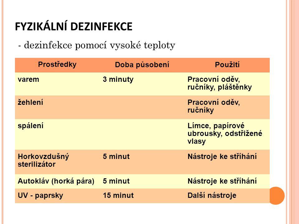 FYZIKÁLNÍ DEZINFEKCE - dezinfekce pomocí vysoké teploty Prostředky