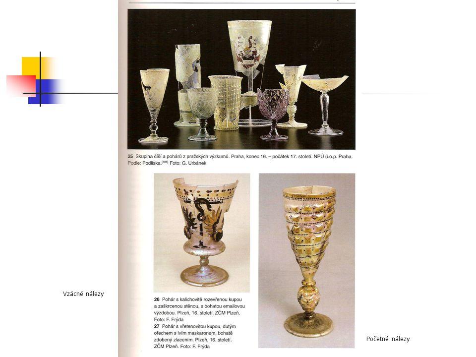 Renesanční sklo Vzácné nálezy Početné nálezy
