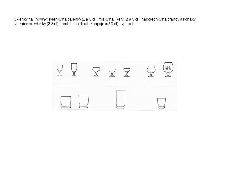 Sklenky na lihoviny: sklenky na pálenky (2 a 5 cl), misky na likéry (2 a 5 cl), napoleónky na brandy a koňaky, sklenice na whisky (2-3 dl), tumbler na dlouhé nápoje (až 3 dl), typ rock.