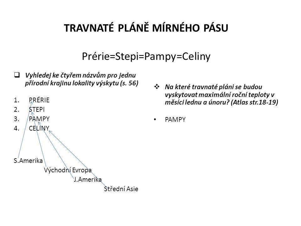 TRAVNATÉ PLÁNĚ MÍRNÉHO PÁSU Prérie=Stepi=Pampy=Celiny