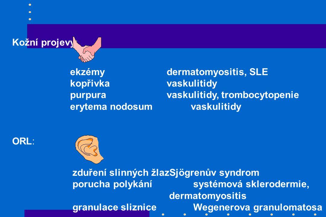 Kožní projevy: ekzémy dermatomyositis, SLE. kopřivka vaskulitidy. purpura vaskulitidy, trombocytopenie.