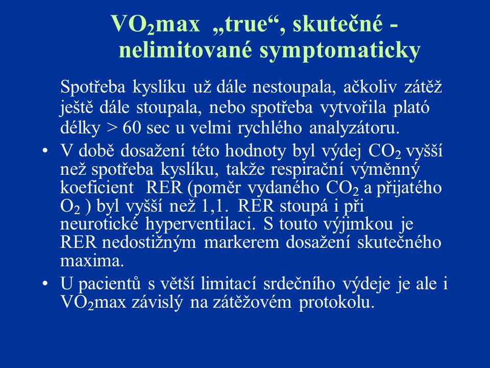 """VO2max """"true , skutečné - nelimitované symptomaticky"""