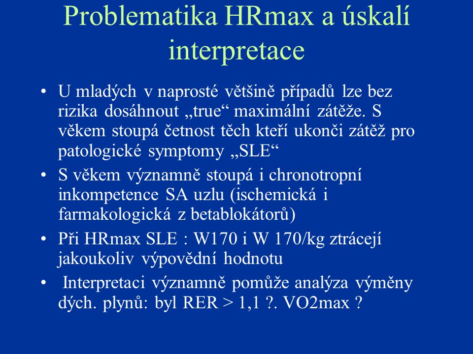 Problematika HRmax a úskalí interpretace