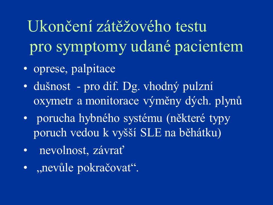 Ukončení zátěžového testu pro symptomy udané pacientem