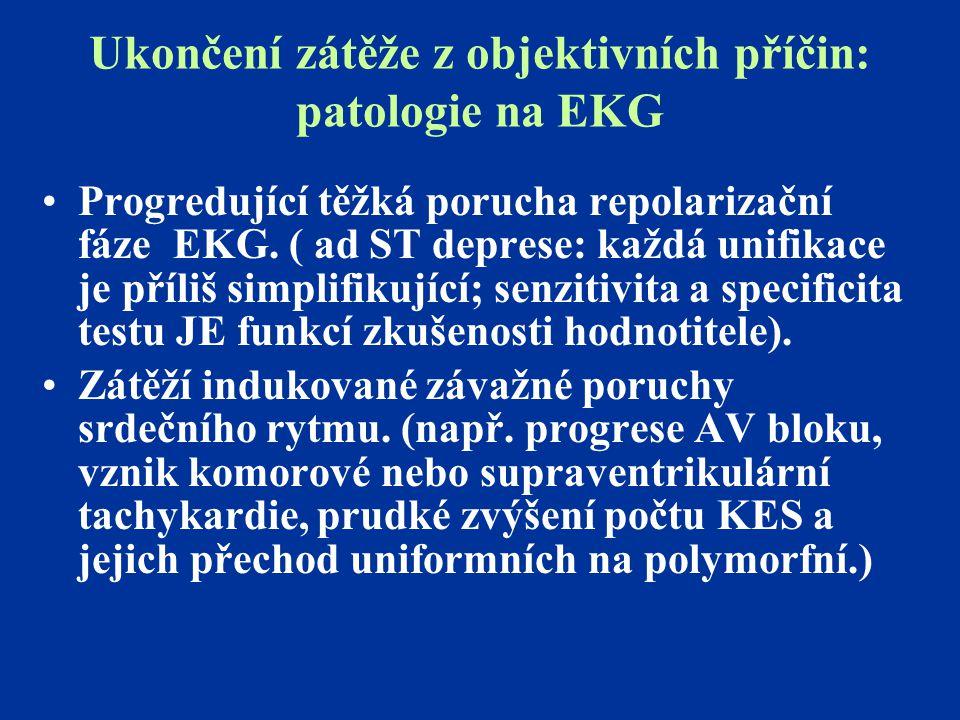 Ukončení zátěže z objektivních příčin: patologie na EKG