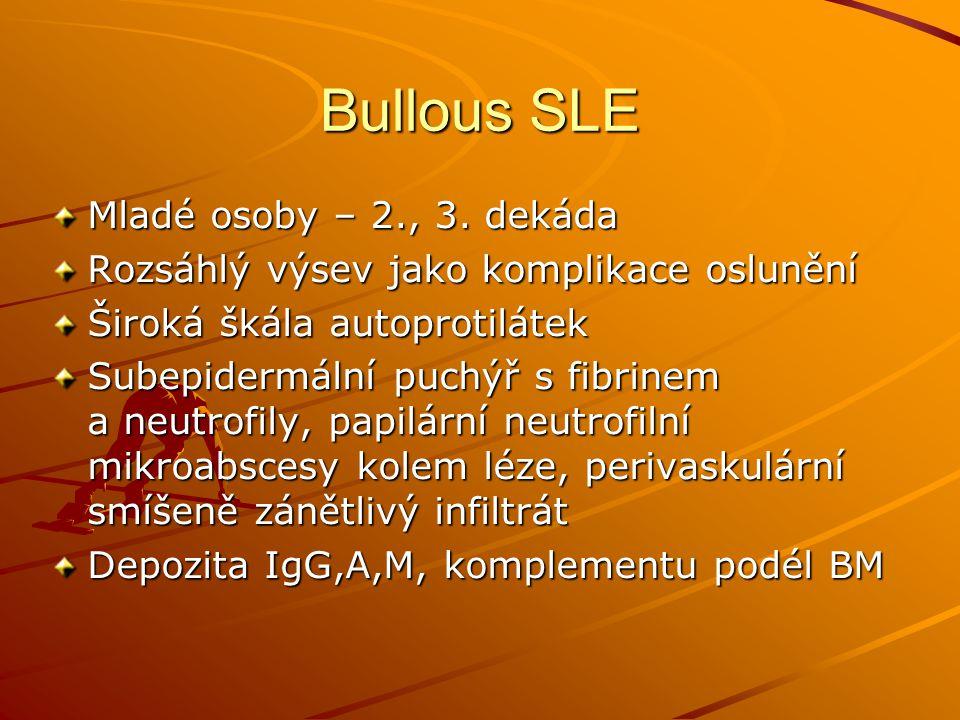 Bullous SLE Mladé osoby – 2., 3. dekáda