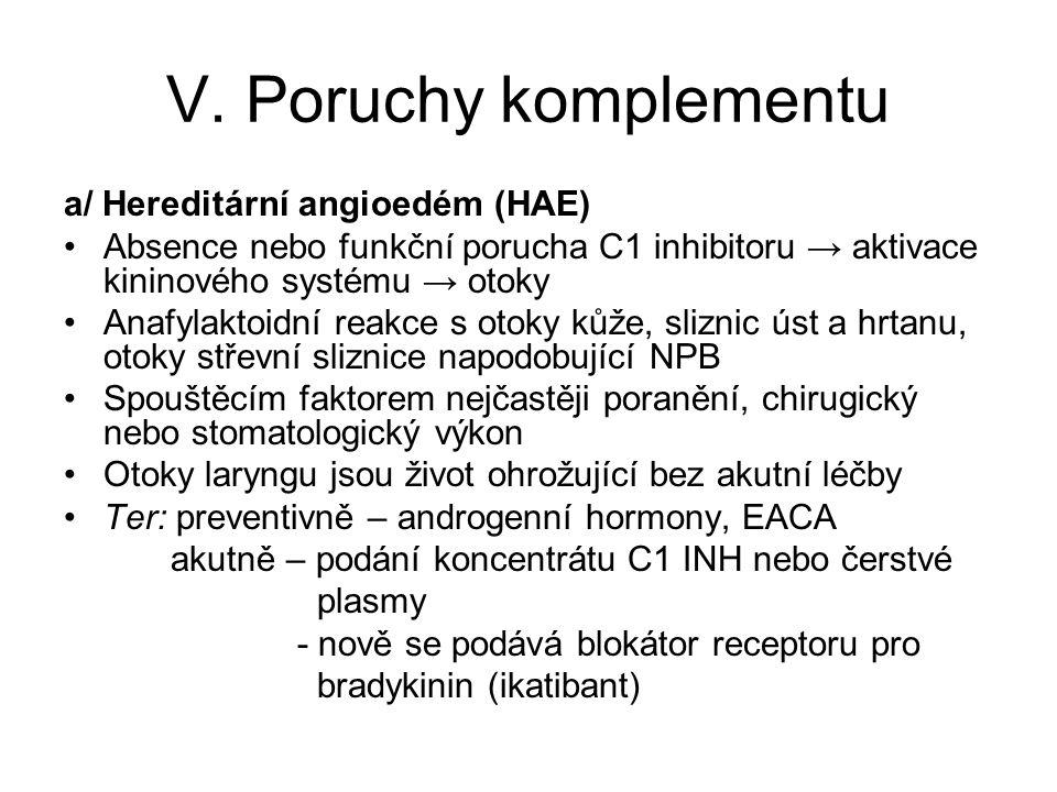 V. Poruchy komplementu a/ Hereditární angioedém (HAE)