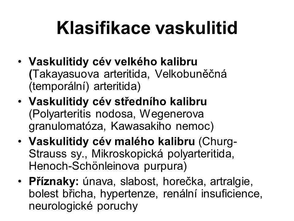 Klasifikace vaskulitid