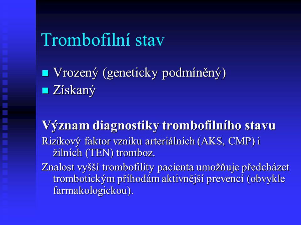 Trombofilní stav Vrozený (geneticky podmíněný) Získaný