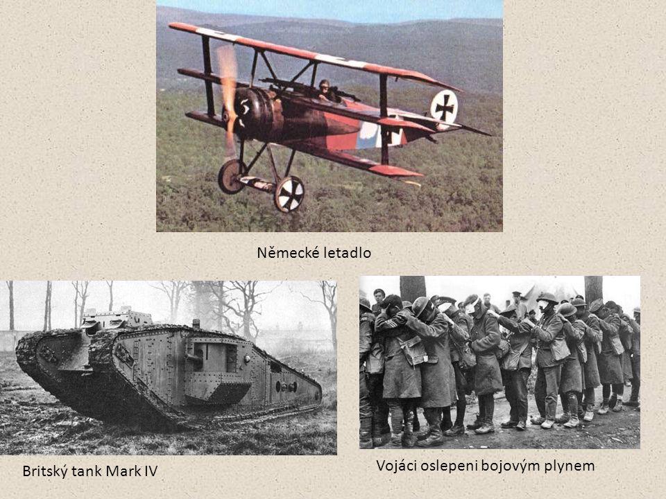 Německé letadlo Vojáci oslepeni bojovým plynem Britský tank Mark IV