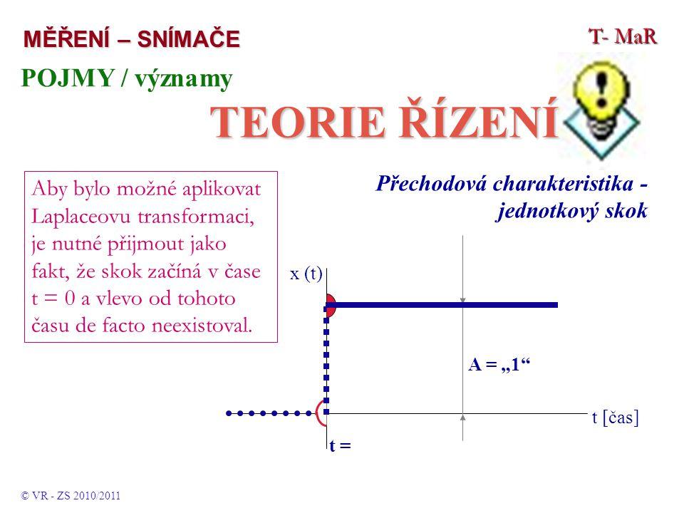 TEORIE ŘÍZENÍ POJMY / významy T- MaR MĚŘENÍ – SNÍMAČE