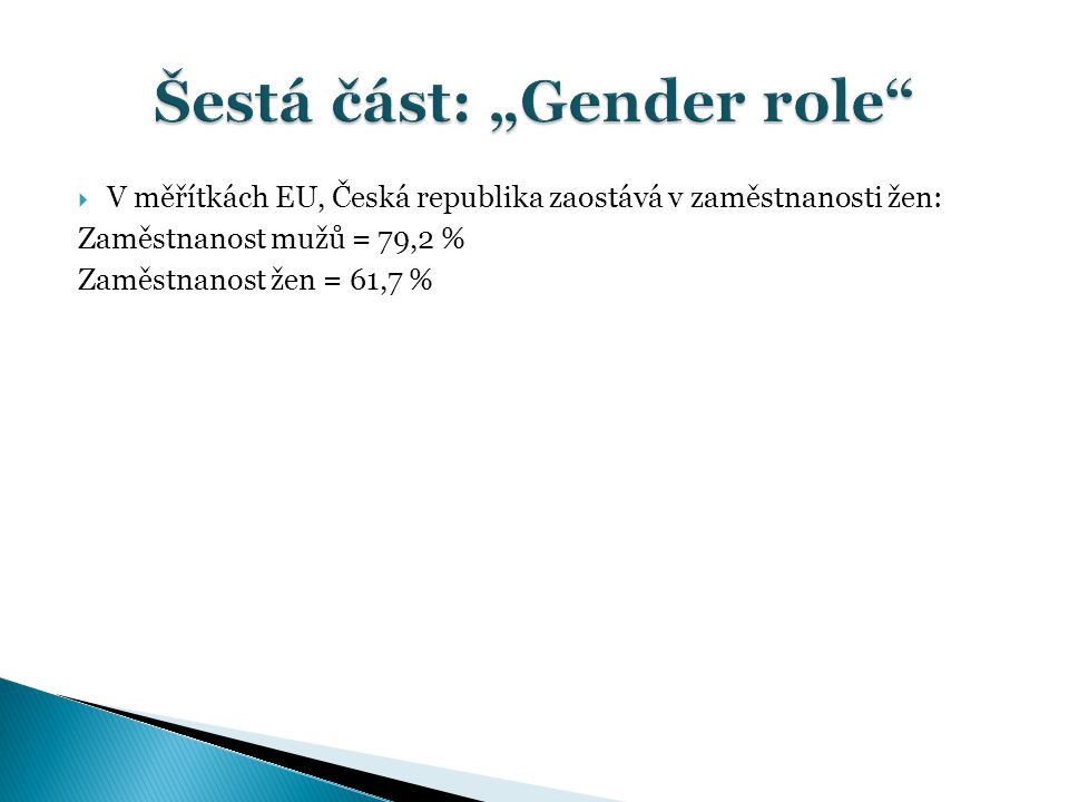 """Šestá část: """"Gender role"""