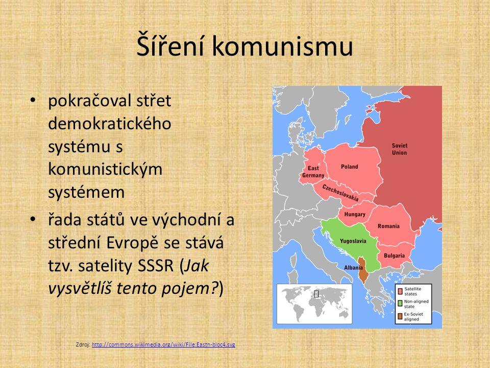 Šíření komunismu pokračoval střet demokratického systému s komunistickým systémem.
