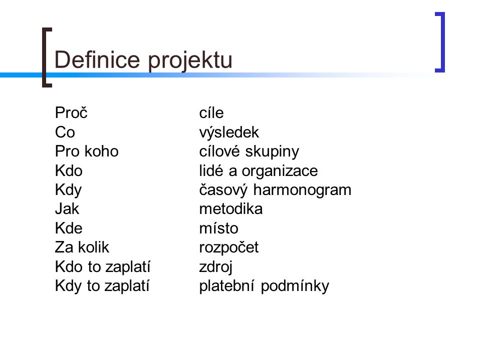 Definice projektu Proč cíle Co výsledek Pro koho cílové skupiny