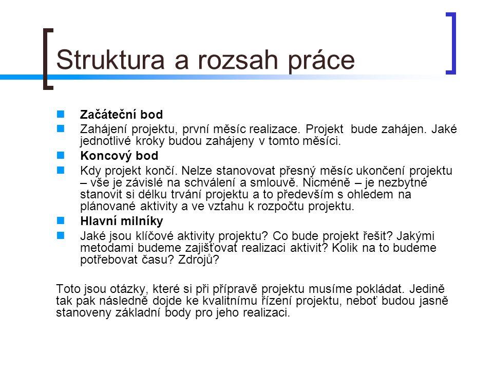 Struktura a rozsah práce